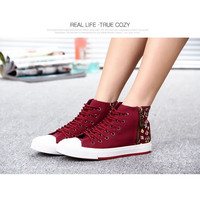Womens Canvas Trainer Classic Casual Flats Shoes Low Top shoes Canvas Sneakers = 1704368708