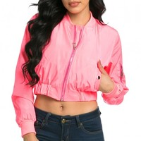 Cropped Light Spring Bomber Jacket in Neon Pink