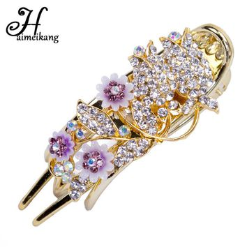 Haimeikang Hair Accessories Metal Rhinestone Lily Flower Barrette Hair Clip for Women Shiny Flower Hairpin Claw Headwear