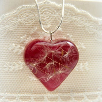 Dandelion necklace, Valentine gift, Valentine heart, Wish jewelry, Pendant resin dandelion, Resin heart dandelions, Heart resin pendant