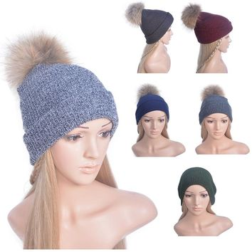 Knitting Wool Winter Women Girl' Real Natural Fur PomPom Hats Winter Warm Solid Caps Female Beanies Cap Elegant Fur Ball Hat