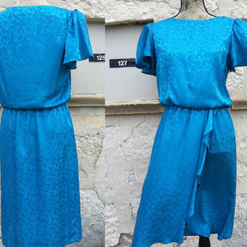 80's Vintage Green Blue Shiny Floral Dress - Jody California