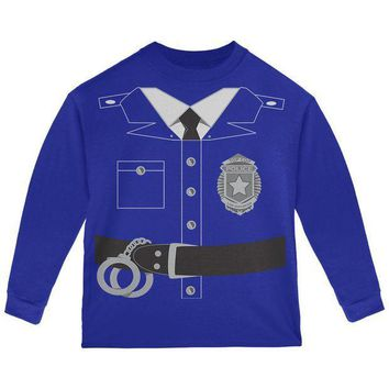 PEAPGQ9 Halloween Police Policeman Cop Costume Toddler Long Sleeve T Shirt