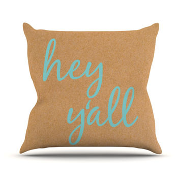 "KESS Original ""Hey Y'all"" Brown Blue Outdoor Throw Pillow"