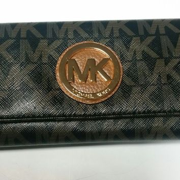 MICHAEL KORS Fulton Flap Continental Wallet BLACK/ Dark BROWN 35F7GFTE5V NWT