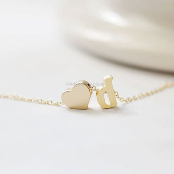 Lowercase gold initial and heart necklace,initial necklace, letter heart necklace, bridesmaid necklace, initial necklace, gold, silver,