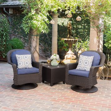 Linsten Outdoor Wicker Swivel Club Chairs and Side Table Chat Set