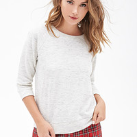FOREVER 21 Boxy Marled Knit Sweater Heather Grey