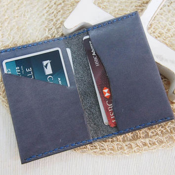 Personalized Leather Card Holder, Grey