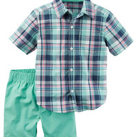 2-Piece Plaid Button-Front & Canvas Short Set
