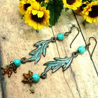 Greek Mykonos Olive Branch BOHO Turquoise Swarovski Long Earrings