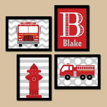 Fire Truck Wall Art Nursery Decor Canvas Or Prints