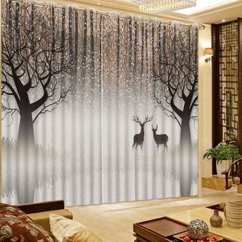 curtains for window living room Abstract woods deer modern home decor blackout curtains 3d bedroom curtains