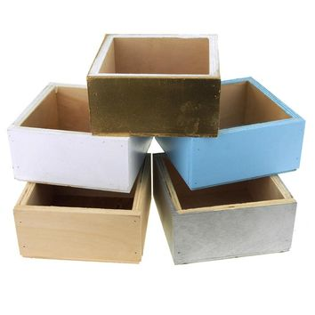 Square Wooden Crate, 6-Inch x 6-Inch