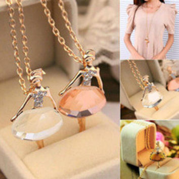 Lowest whole network New fashion girls Ballet Girl Chic pendant choker necklace Bib crystal jewelry party N142