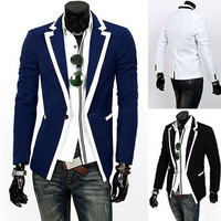 School Style Trim Design Men Fashion Blazer