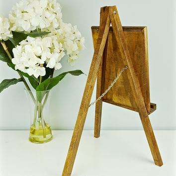 Vintage Easel Art Display Handmade, Wooden Tripod Easel, Tabletop Wood Display Easel, Tripod Art Easel Metal Details, Artwork Display Frame