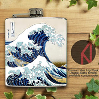 The Great Wave off Kanagawa 6oz and 8oz Hip Flask
