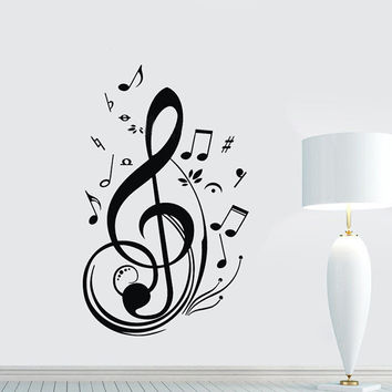 New Fashion Unique Black Music Note Notes Decal Wall Sticker Living Room Arts Decor Wall Decoration