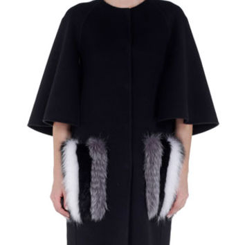 Fendi Striped Fur-Trimmed Pocket Cape