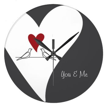 Cute White Doves in Love Girly Wall Clock for Wedding, Valentine's Day, or Her Birthday Gift: You & Me