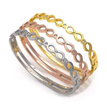 Infinity Bangle Bracelet - Stainless Steel