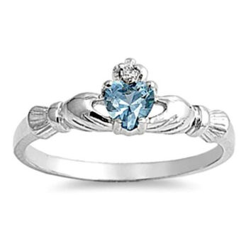 Sterling Silver Petite .50 ct. Aquamarine CZ Claddagh Ring Size 1-9