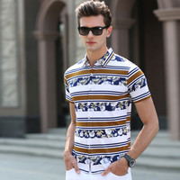 Men Short Sleeve Slim Shirt Blouse [6544779075]