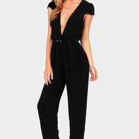Reverse The Deep End Cropped Black Jumpsuit