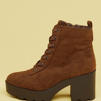 Lace Front Block Heel Platform Military Boots