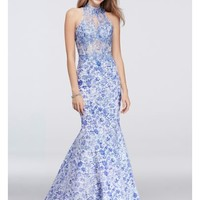 Lace-Print Mermaid Dress with Beaded Appliques - Davids Bridal