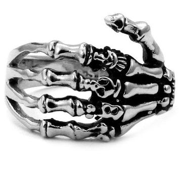 Stainless Steel Biker Ring with Gothic Skeleton Hand  Crazy2Shop