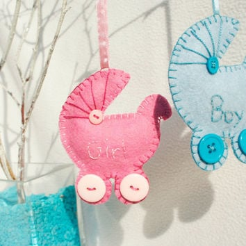 Personalized wool Felt Pram Baby girl or boy Ornament - baby shower gift - Handmade  wool felt Ornament - Birthday/Housewarming home decor
