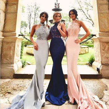Halter Backless Bridesmaid Dresses Sleeveless Appliques Custom Sexy Mermaid Sweep Train Wedding Guests Dress