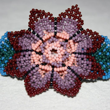 Huichol Flower Hair Brooch Beaded Hair Clip Purple Flower Brooch Hair Accessory Ponytail Brooch Hippie Brooch Gypsy Brooch Boho Brooch