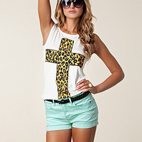 Animal Print Cross Tee, Ax Paris