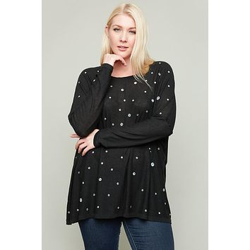 Just For Mommy Women's Black Plus Size Rhinestone Sweater