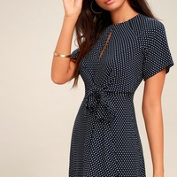 Darling Details Navy Blue Polka Dot Knotted Wrap Dress