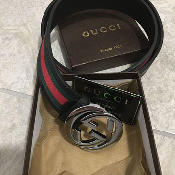 Men Gucci Black Leather Belt 38-42