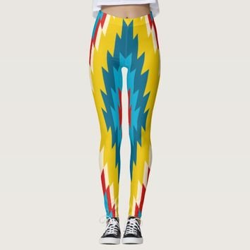 Bright Aztec Tribal Red Yellow Blue Pants Leggings