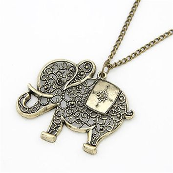 Women  Cute Vintage Retro Charms Hollow Out Elephant Metal Necklace