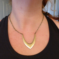 Tribal raw brass trendy necklace, pendant with chain.  Lightweight modern fashion.