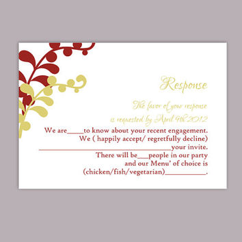 DIY Wedding RSVP Template Editable Text Word File Download Printable RSVP Cards Leaf Rsvp Card Red Rsvp Card Template Green Rsvp Card