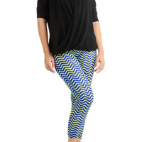 Women's Plus Size Blue And Yellow Chevron Arrow Ankle Leggings