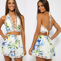 White Floral Print Halter Cropped Top and Short Skirt with Crochet Accent