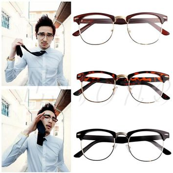 1PC Eyeglasses Men Women Metal Half rimless Glasses Optical Eyeglasses Frame Clear Lens Eyewear Unisex