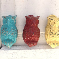 Owl Cast Iron Door Knocker, Cottage Style, Autumn Decor, New Home, Aqua Decor, Yellow Accents, Farmhouse Red