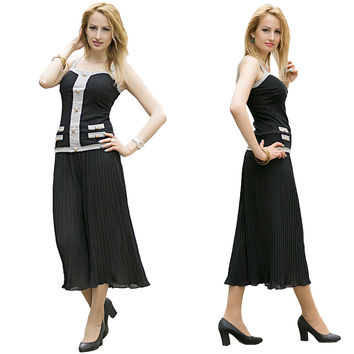 Black Wide Leg Pleated Chiffon Elastic Waist Loose Capris Flare Cropped Trousers Culottes