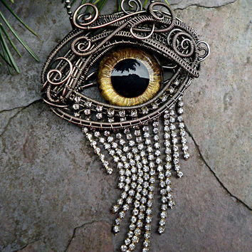 Gothic Steampunk Evil Eye Pin Pendant in by twistedsisterarts