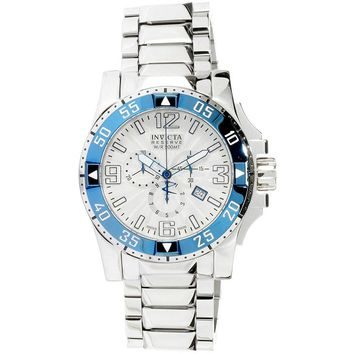 Invicta 10896 Men's Reserve Excursion Silver Tone Textured Dial Blue Bezel Chronograph Stainless Steel Dive Watch